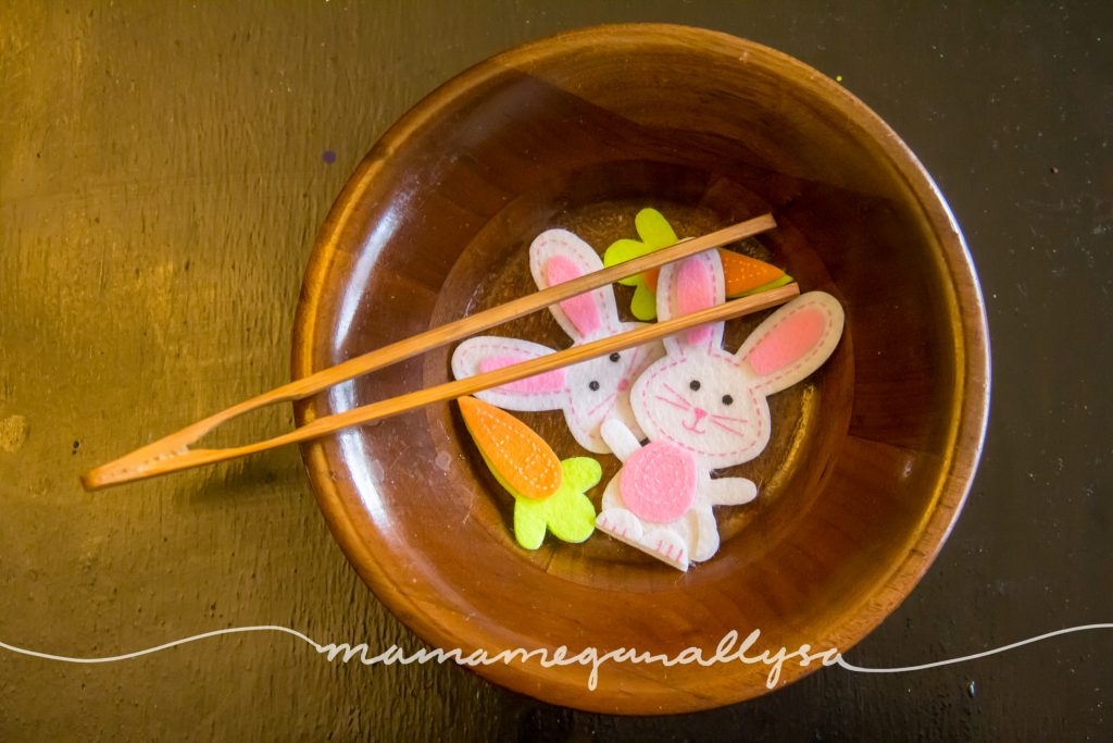 tongs, bowl and our bunny stickers