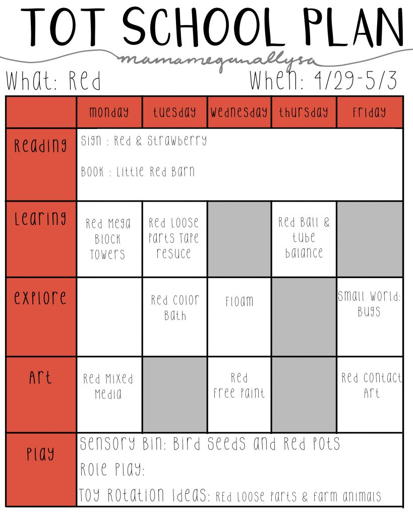 Our tot school plans around the color red