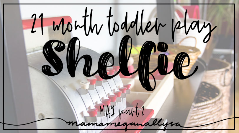 a title card for our play shelfie for mid may showing a toy shelf