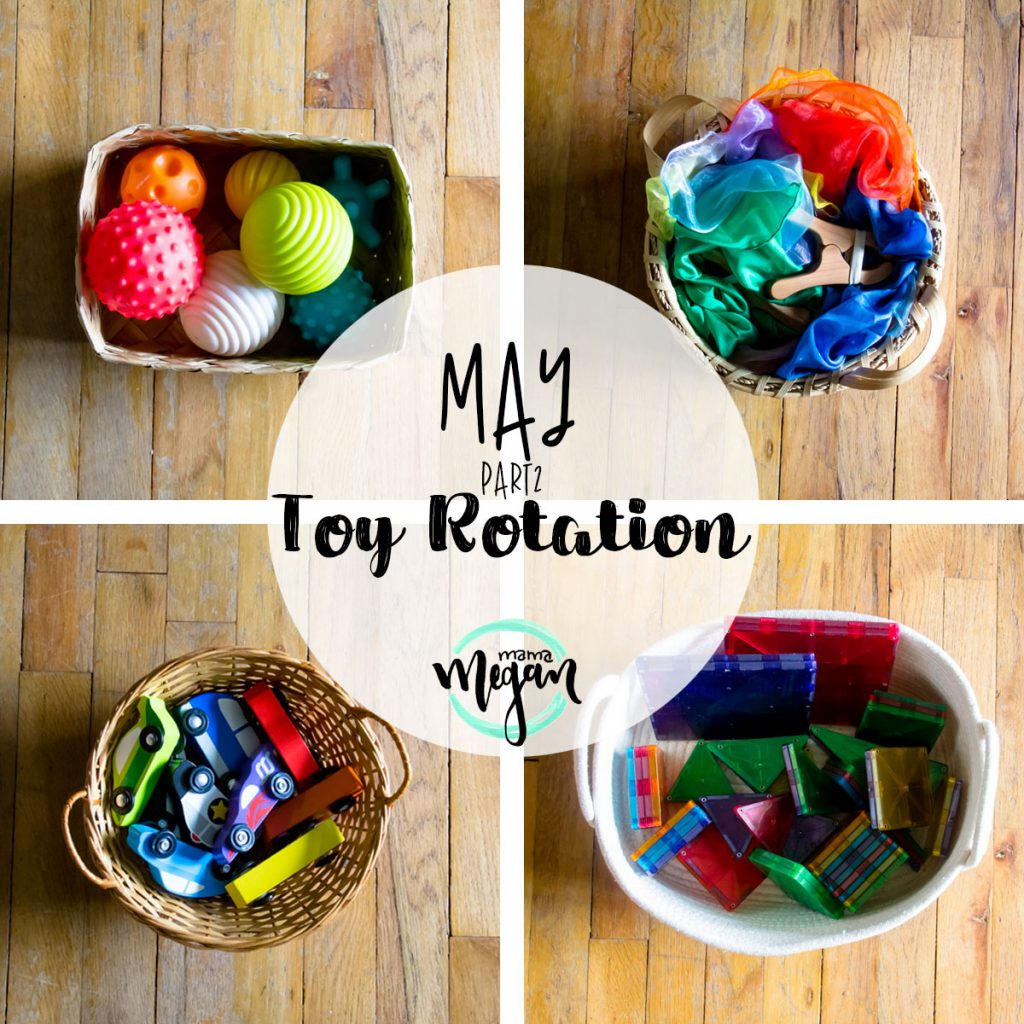 a title card for our mid may toy rotations showing baskets of toys