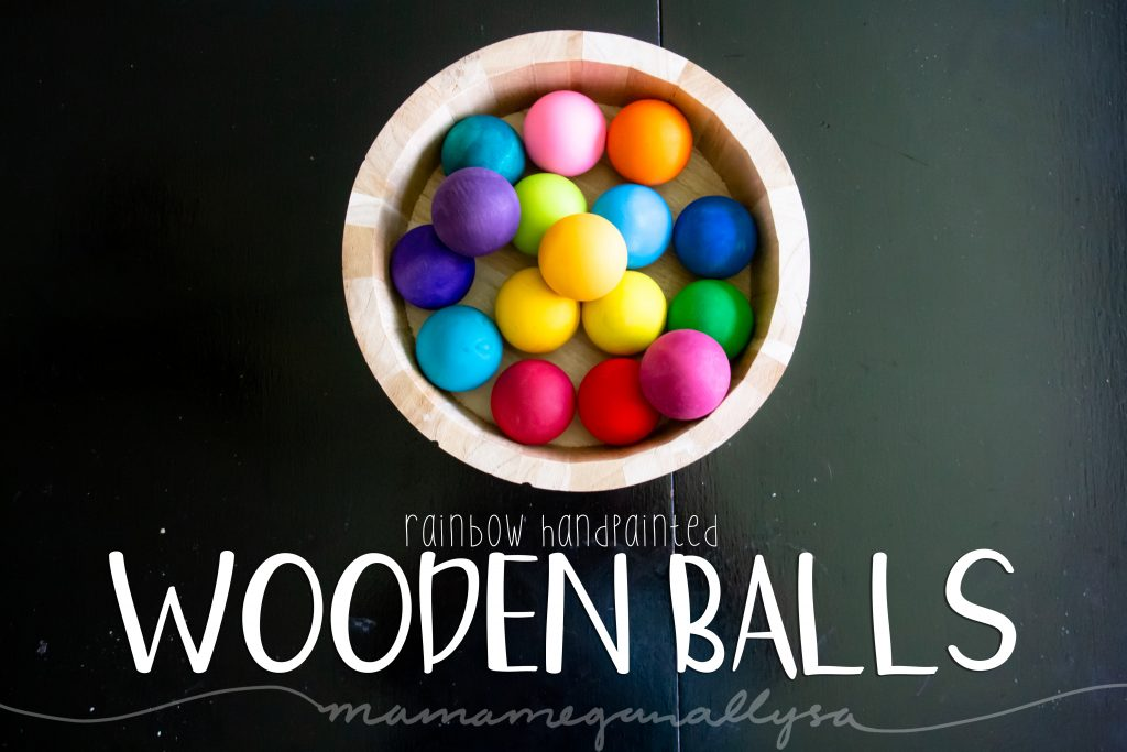 rainbow hand-painted wooden balls for loose parts play