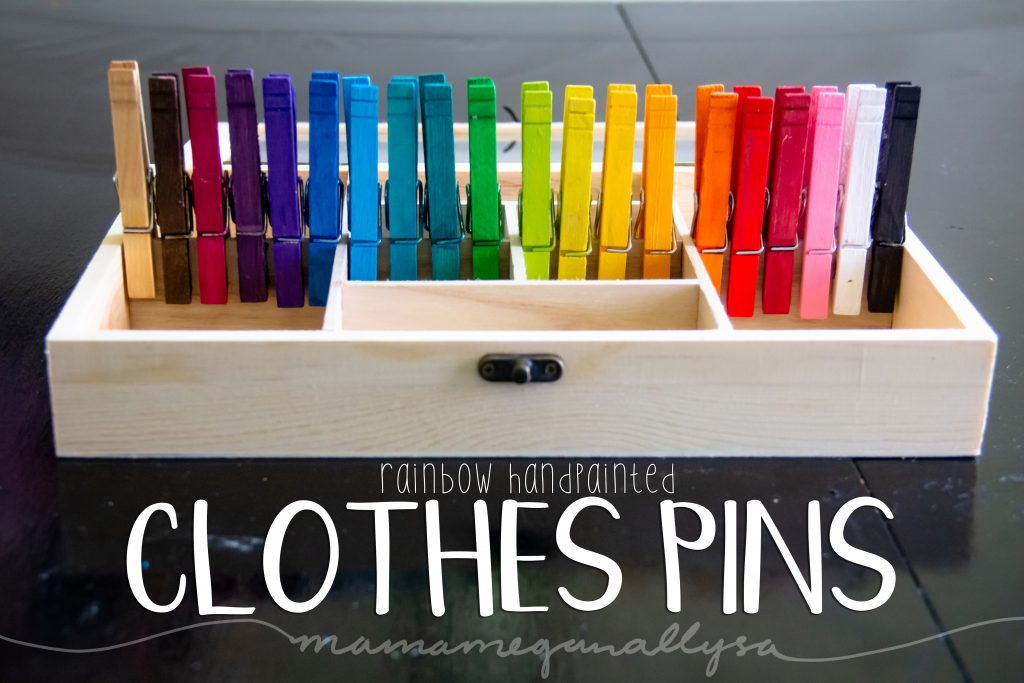 rainbow hand-painted clothespins for loose parts play