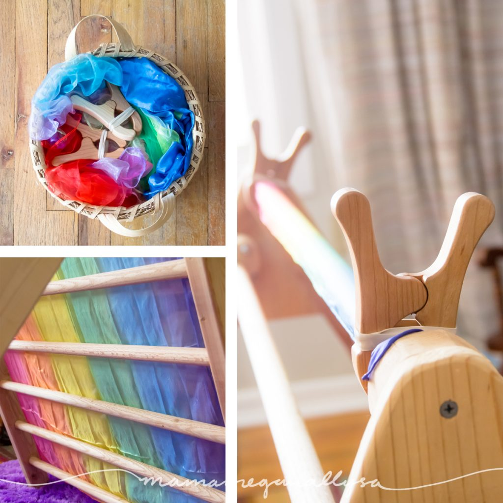 wooden play clips and silks in action