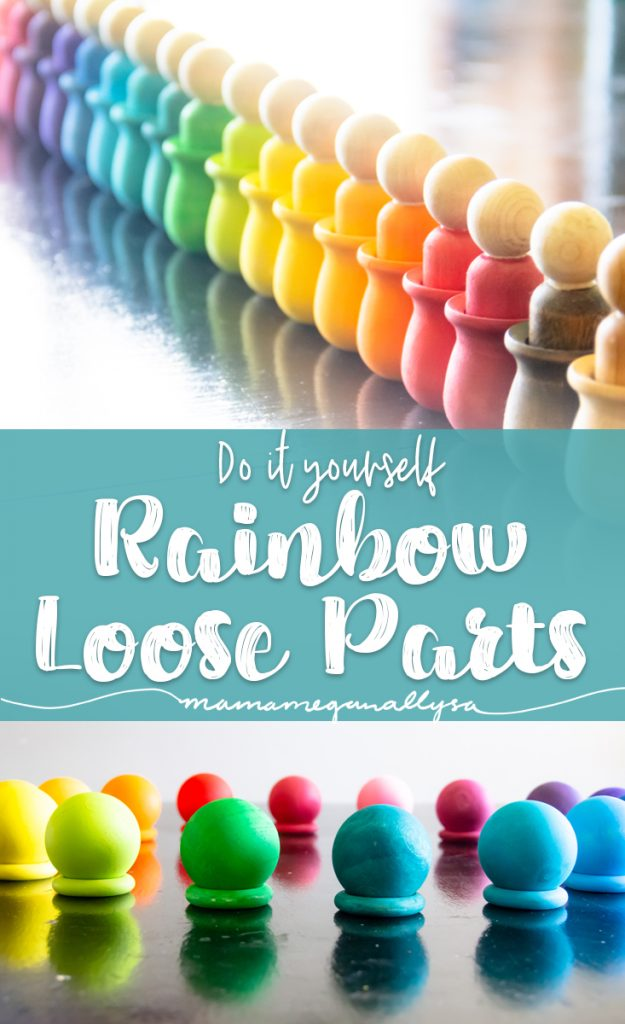 A pin image that reads Do it Yourself Rainbow Loose Parts with an image of a long line of rainbow peg people in pots and another image of matching balls and rings arranged in a circle