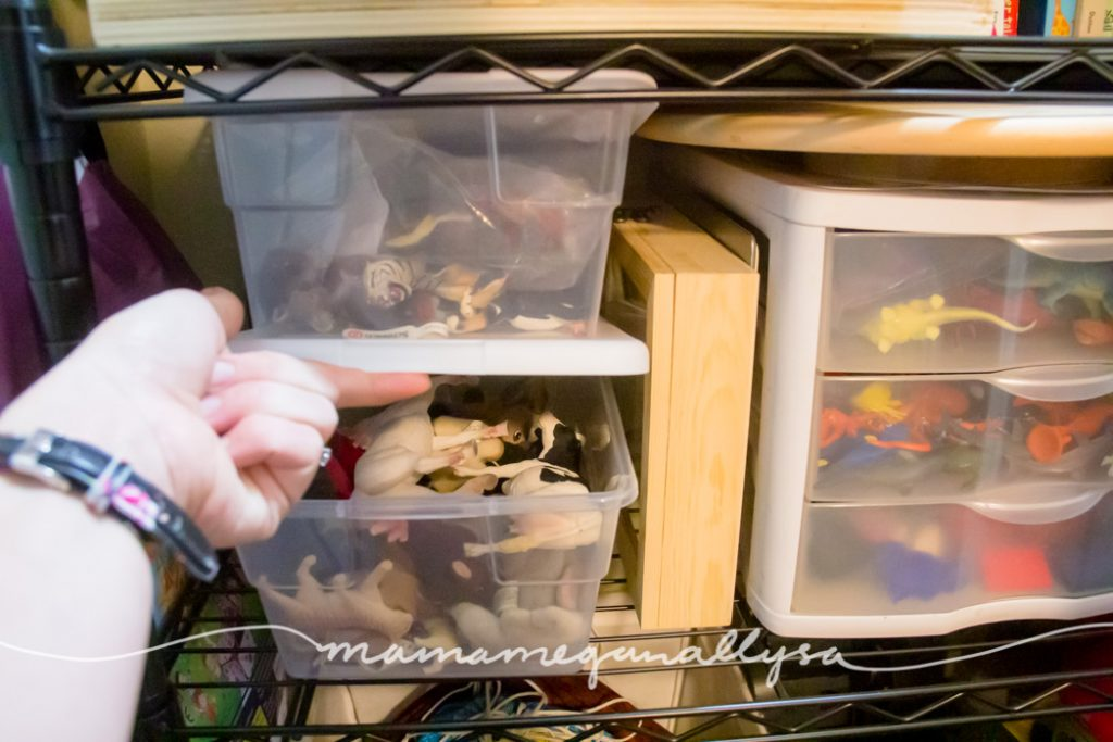 plastic bins containing an animal figure collection