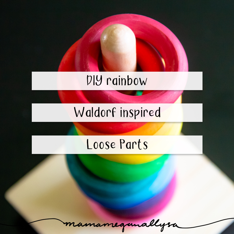 DIY wooden rainbow Waldorf inspired Loose parts toys title card