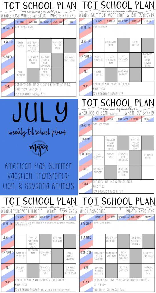 July Tot School Plans : America, Summer fun, transportation, Savanna Animals