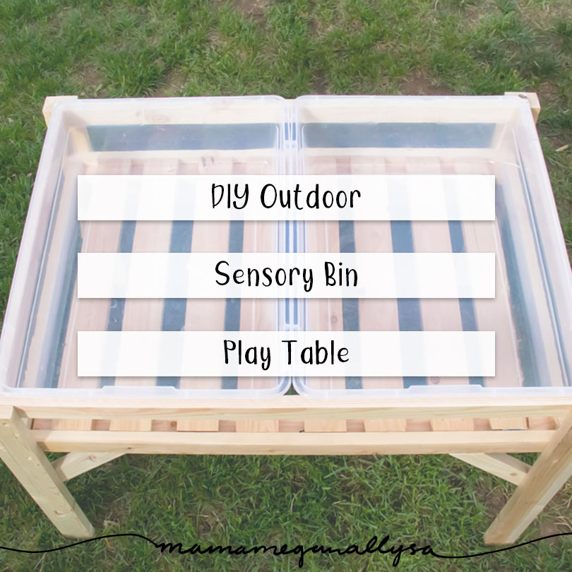 title card for DIY sensory bin table showing a top down view of the table with empty bins