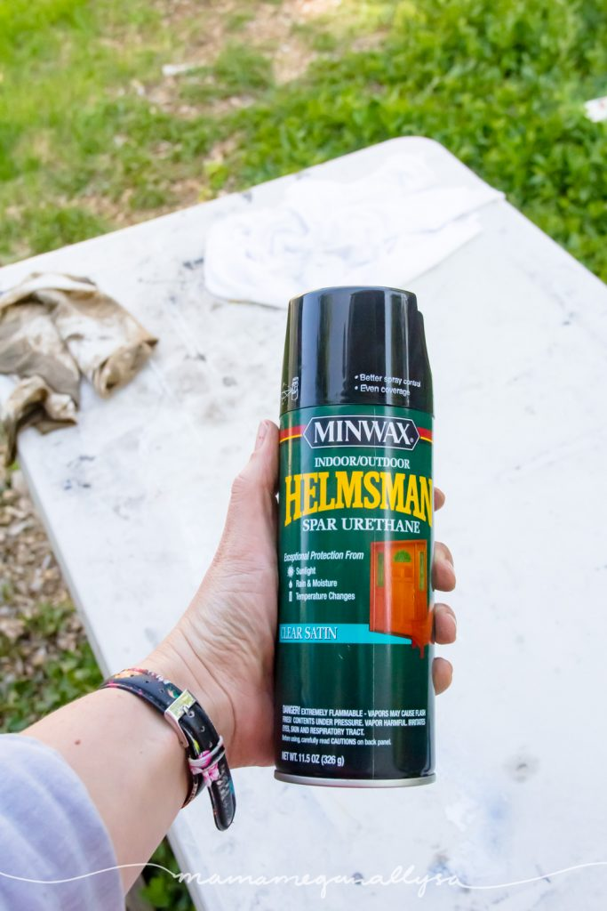 a spray can of Urethane for sealing the table