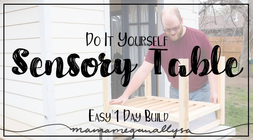 title card for DIY sensory bin table showing man attaching building