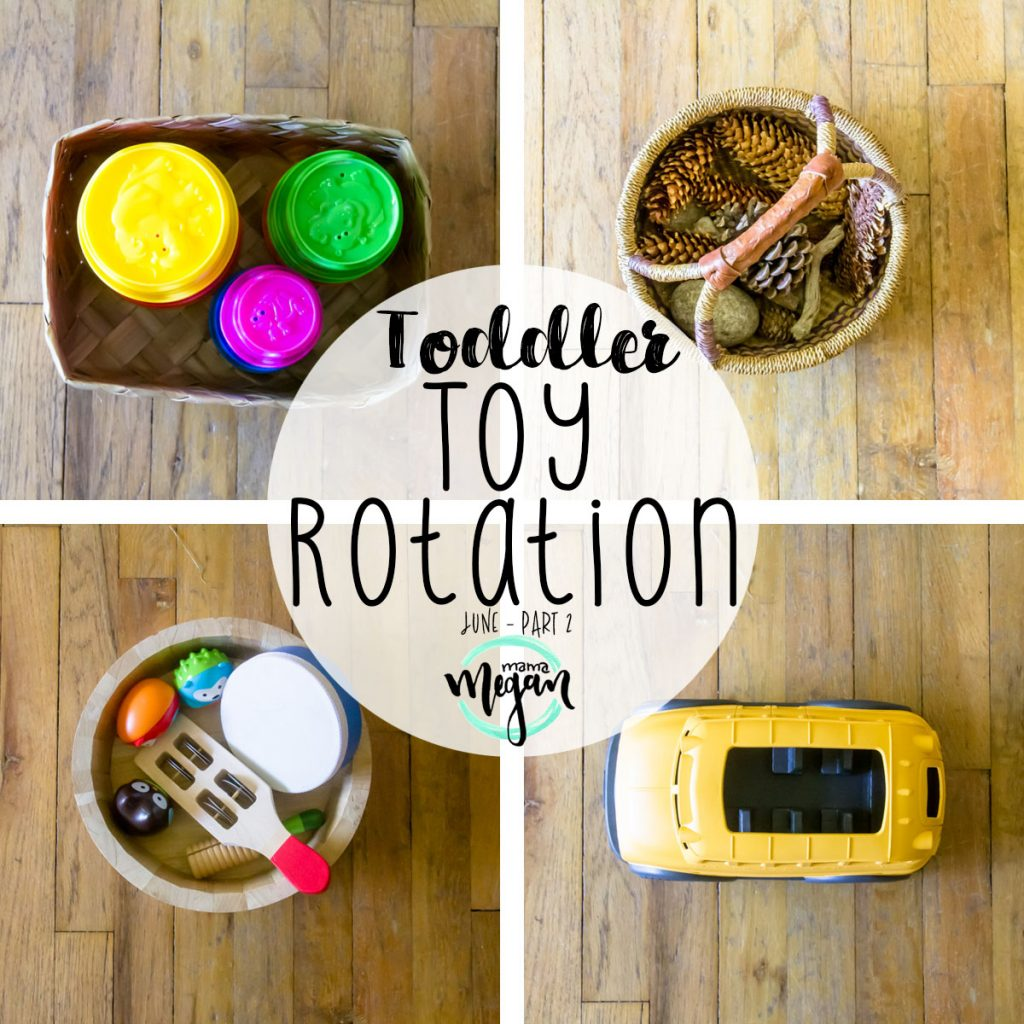 title card for our toy rotation showing a top down view collage of toys