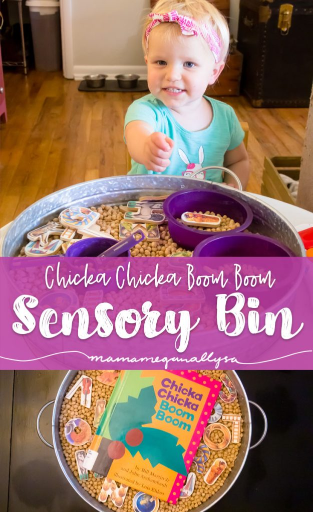 Chickpeas and ABC Sensory Bin title card