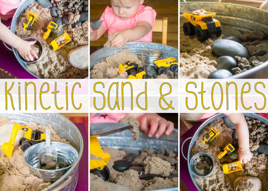 a collage title card for out construction truck sensory bin