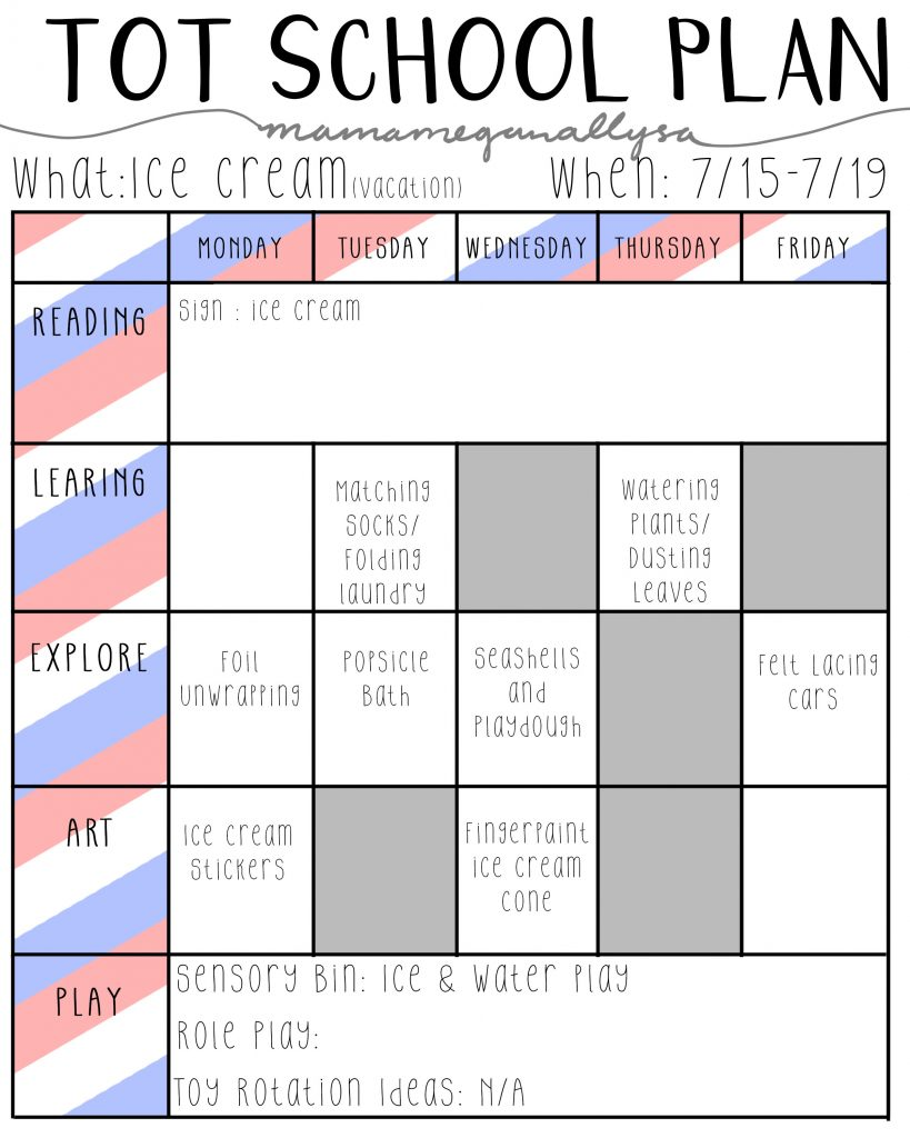ice cream and vacation tot school lesson plans