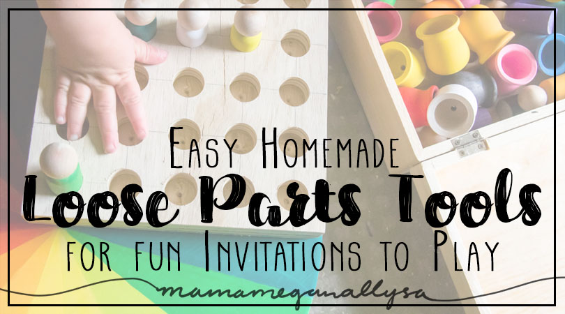 How to make Loose parts tools including a lazy susan color wheel, a ring tree, and a peg person board title card