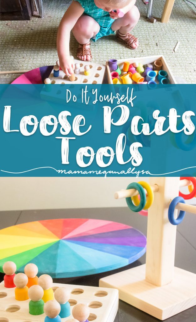 A pin images that reads do it yourself loose parts tools with an image of a wooden pegboard, wooden ring tree and color wheel