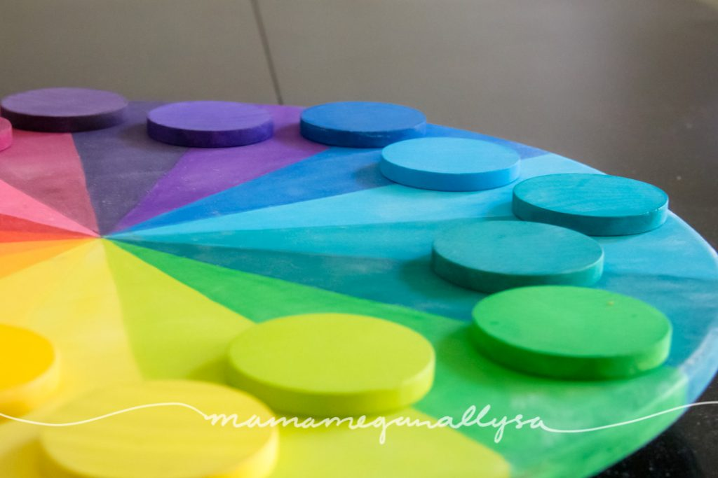 a close up of the rainbow color wheel and rainbow wooden discs arranged around the edge