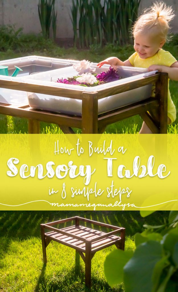 a pin image that read how to build a sensory table in 8 simple steps with an image of the finished table in the afternoon sun and filled with dirt and flowers for a small toddler to play