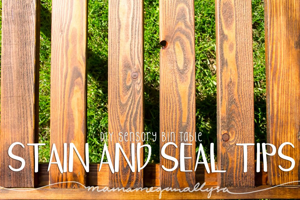 title card for the stain and seal tips for our DIY sensory bin table showing the wood grain on the table after staining