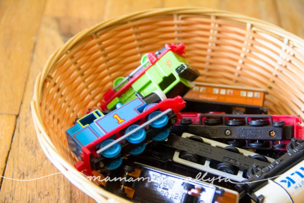 vintage thomas the train toys in  a basket