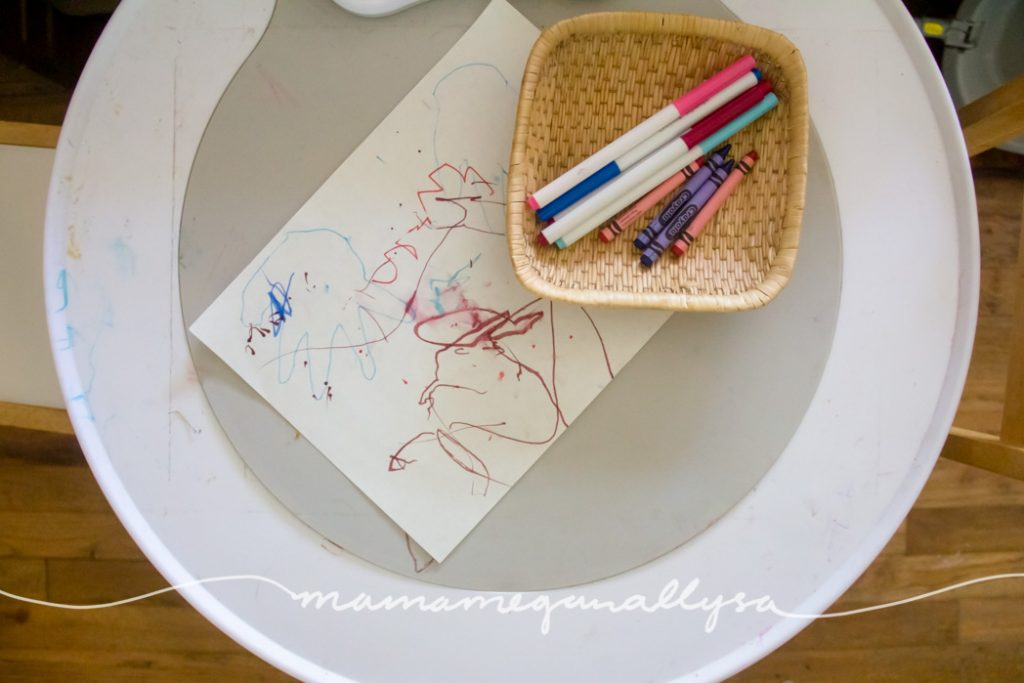 some toddler scribbles on a some white paper with markers and crayons in a small basket