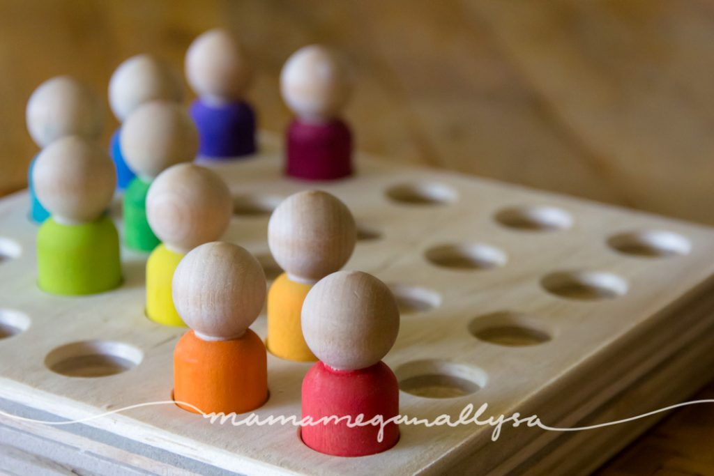 my DIY peg board and peg people for posting