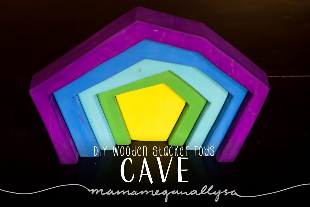 DIY stacker Toys : The Cave painted in a  vivid purple on the outer band to a bright lime green in the center