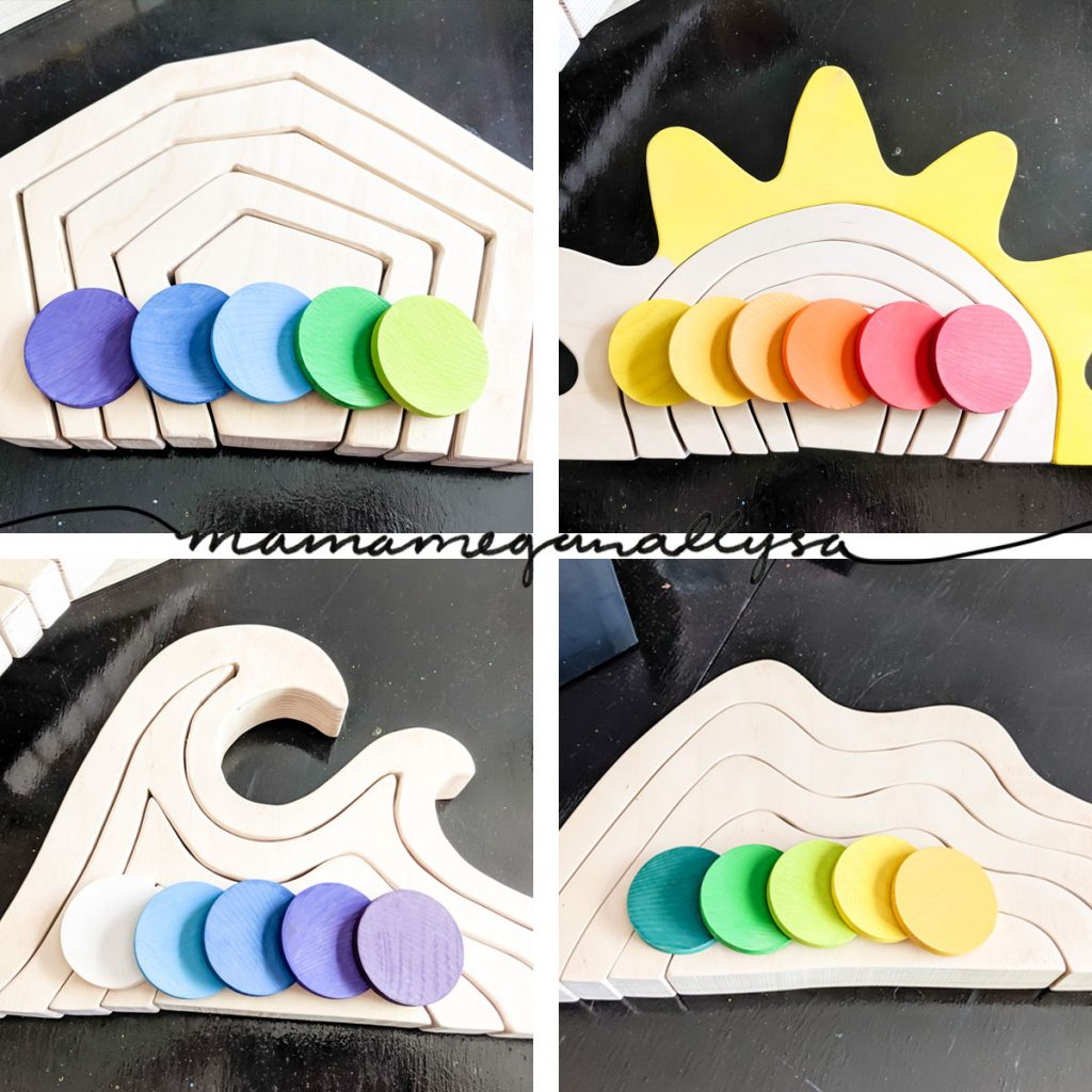 I used my DIY loose parts coins as paint chips to figure out what colors I wanted to use
