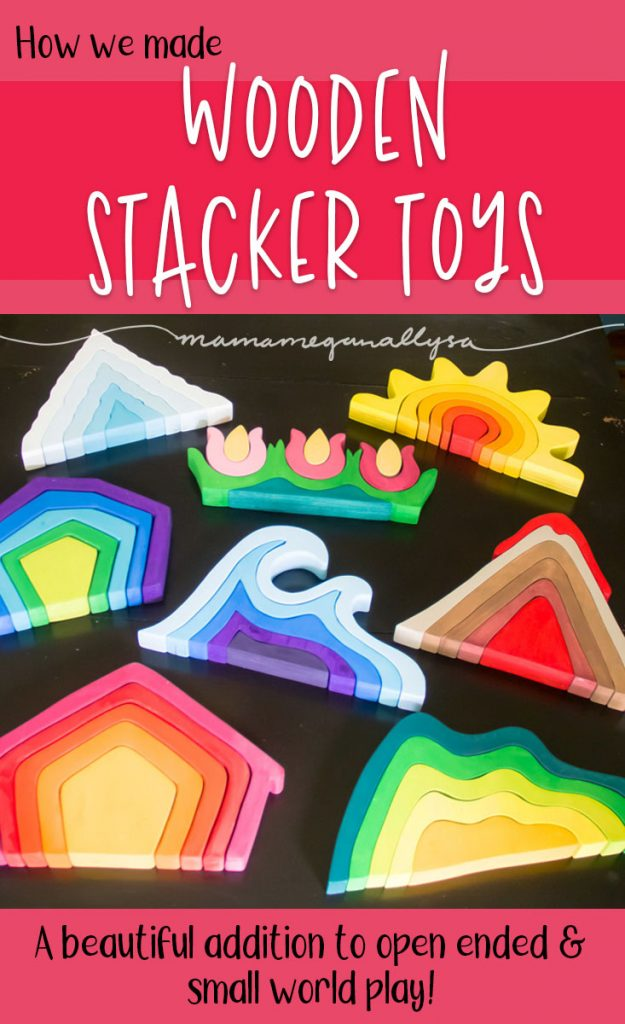 a pin image that reads wooden stacker toys
