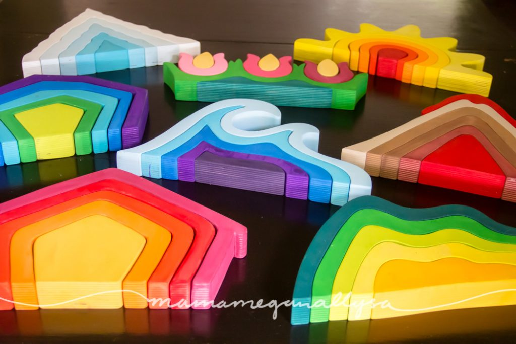DIY Stacker Toys are a super colorful and still beautiful addition to our play space and out small world play