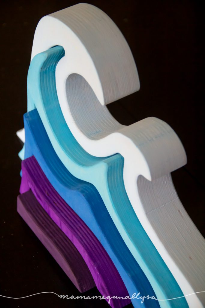 DIY stacker Toys : The wave painted in a very light blue on the outer band and getting darker into the center where I used a rich purple