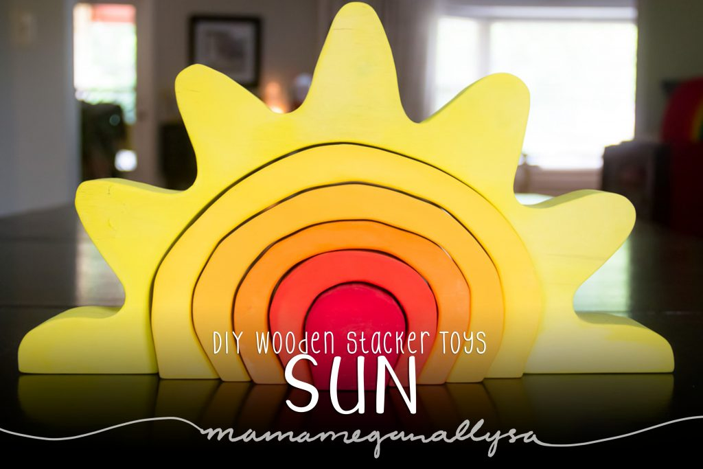 DIY stacker Toys : The Sun painted in a vivid red in the center to a pale yellow on the rays of sunshine