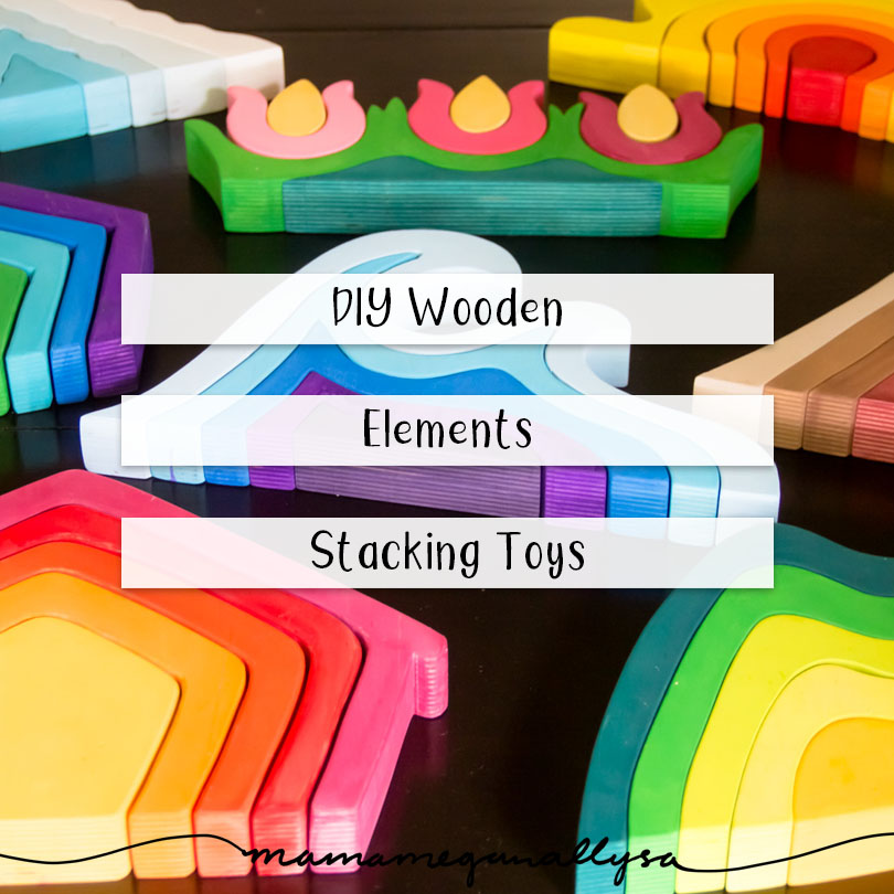 My DIY stacker toys were based of the basic elements you find in nature, making them easy to work into lots of different play set ups!