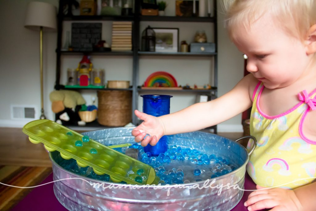 Offering a 'ramp' of sorts helped keep the water beads in the tray