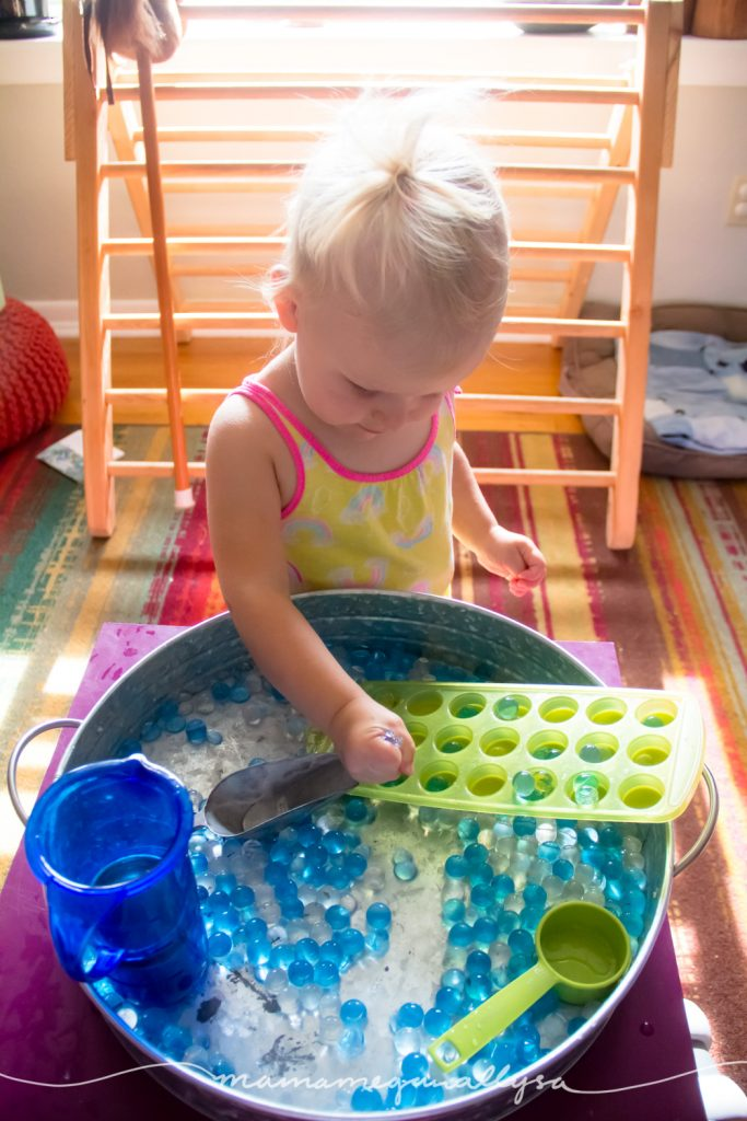 when she starts to squish the water beads in her hand I have to take the tray way from her.