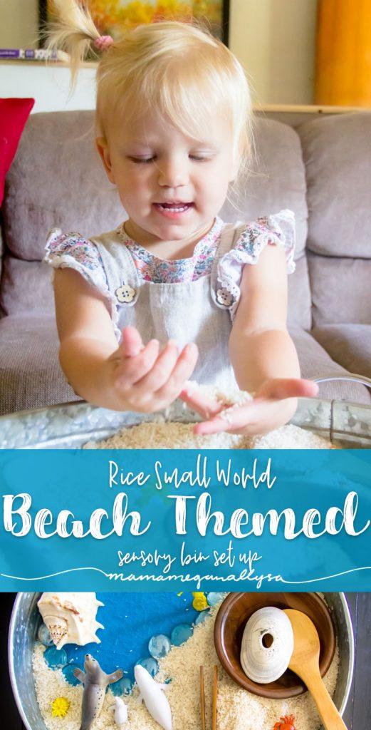 A Beach themed sensory bin featuring white rice and seashells