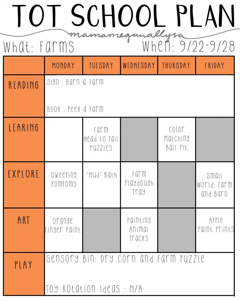 September Tot School Plan playing with farm animals and apples