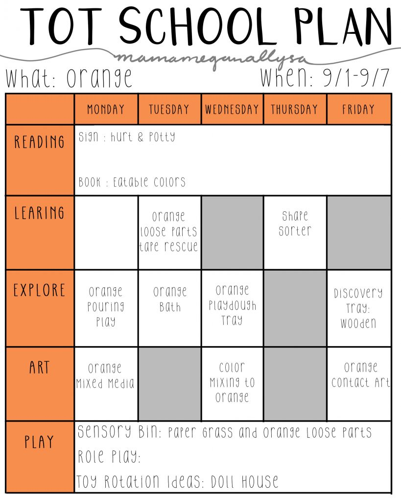 September Tot School Plan all about the color orange!
