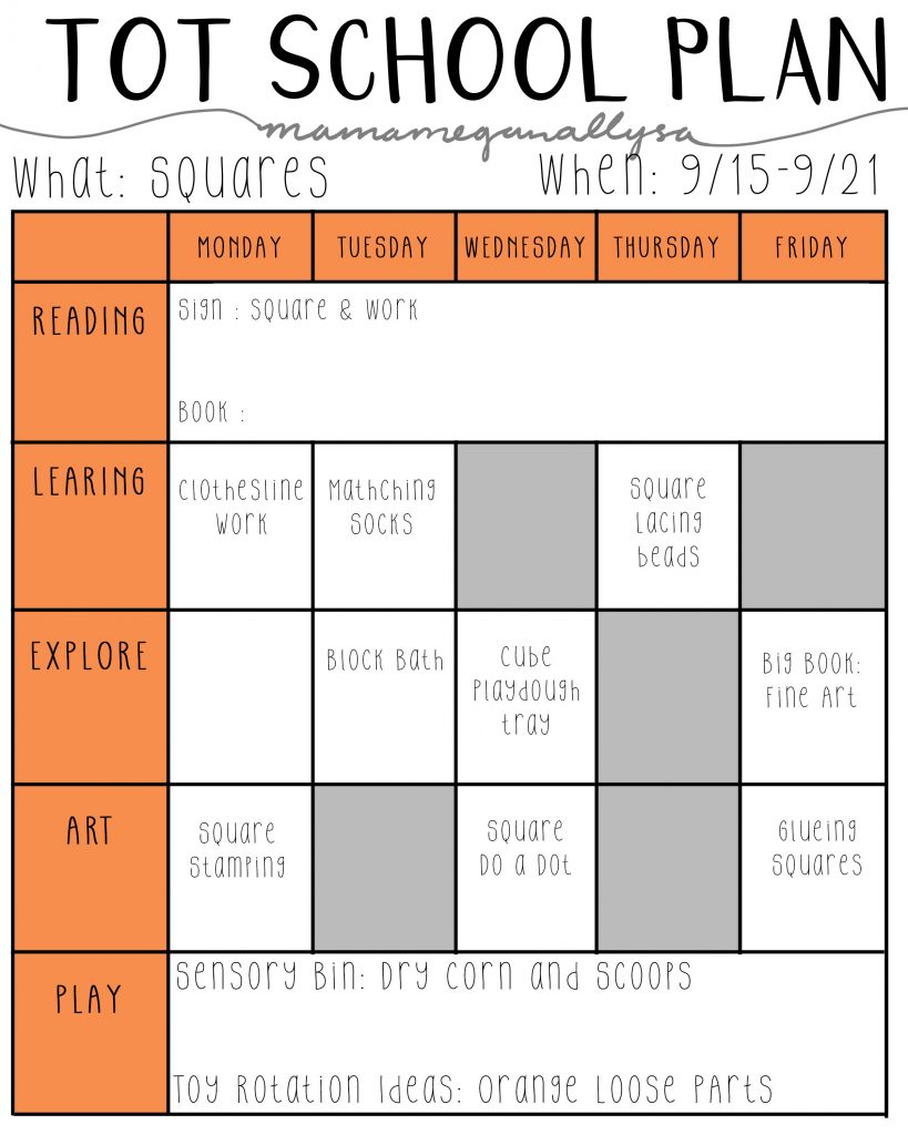 September Tot School Plan playing with squares and practical life skills