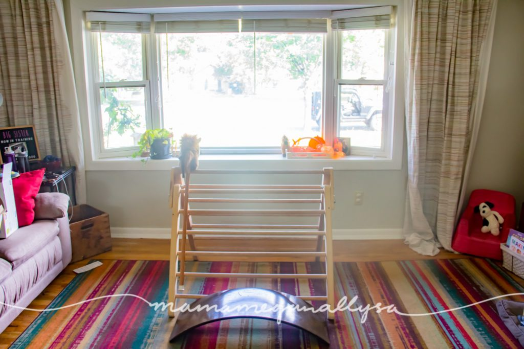 we have a Pikler triangle, wobble board, reading corner, puzzle table as well as her doll house out in the living room this month for our2-year-old toy rotation.