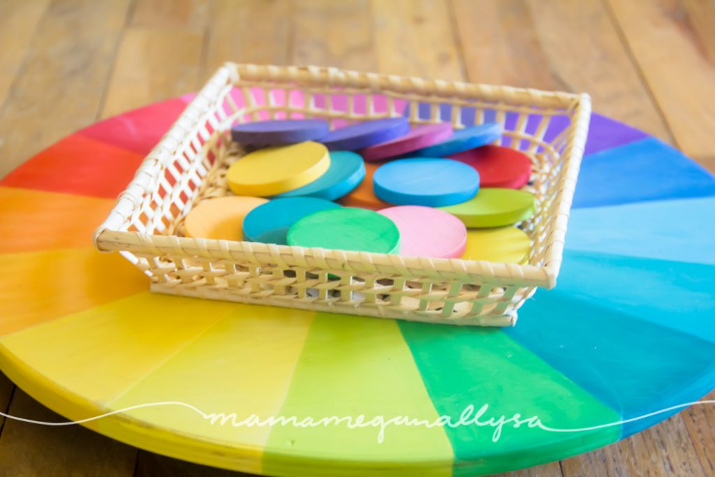 my DIY color wheel lazy susanne and coins are our loose parts invitation to play this week