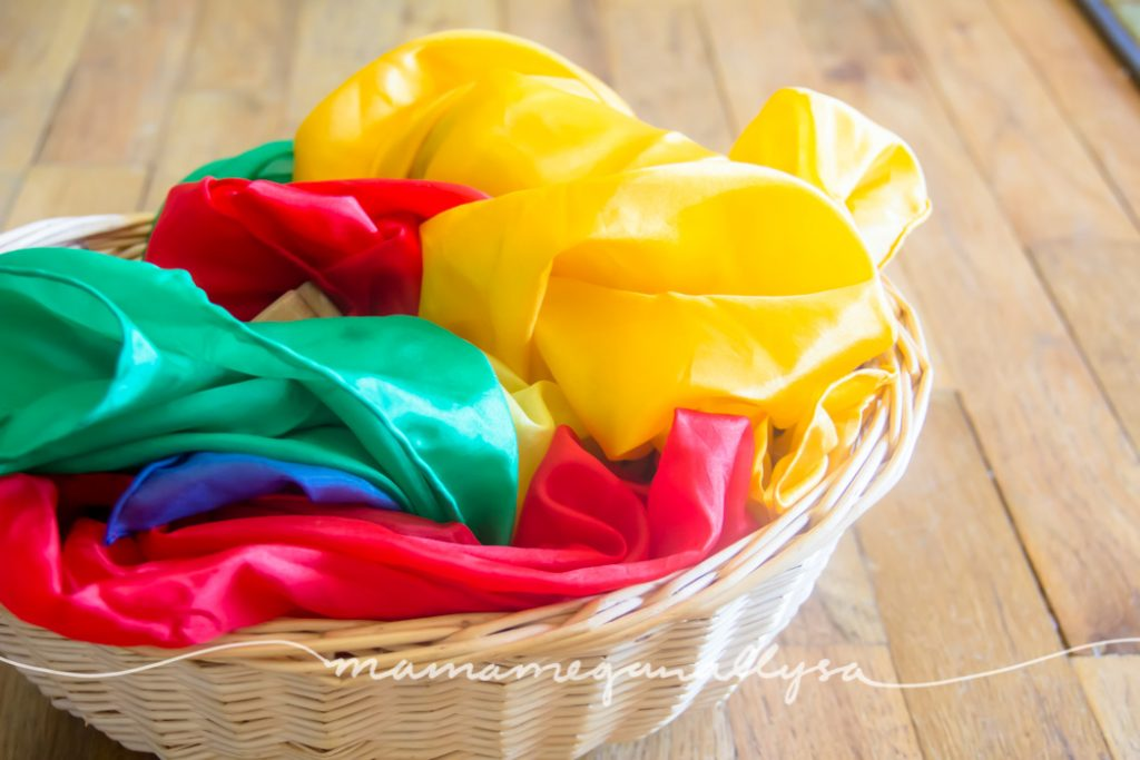 Play silks are such a great open ended toy, ours are always out and ready for use as dress up, blankets, tents, dance scarves and so much more.