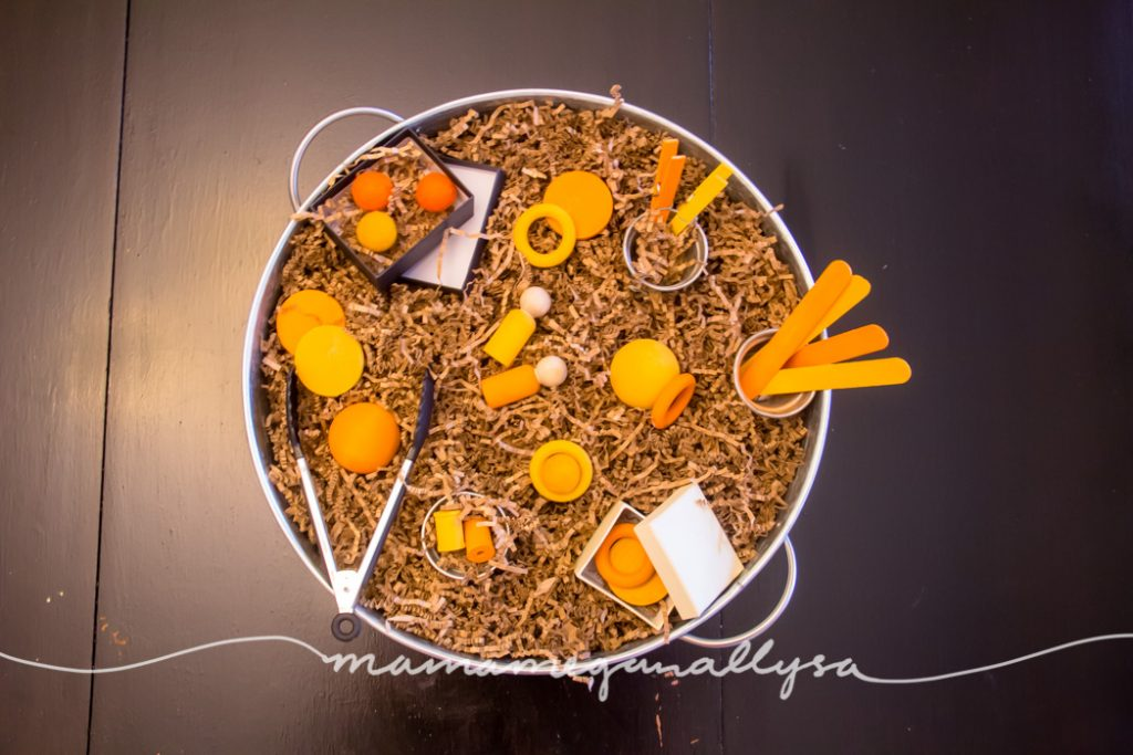 With brown paper grass as the base and a variety of orange loose parts from balls to rings to dics to peg people and clothespins there is plenty to explore in this sensory bin