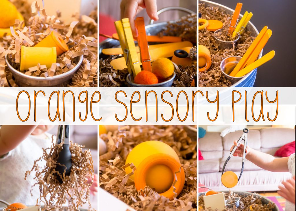 Our Orange Loose parts sensory bin has lots of different things to practice using the tongs with and its easy to clean up to boot!