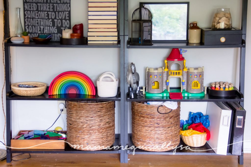 The living room shelves that we use for toddler toy rotations keep everything front and center but up off the floor!