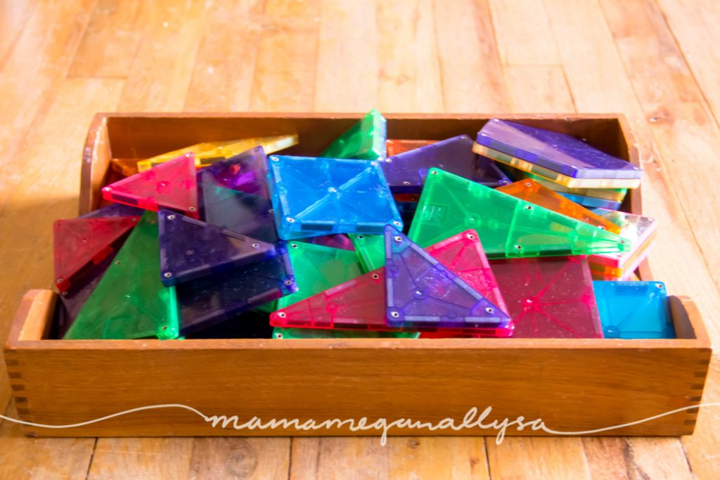 Magnatiles in a tray for easy access