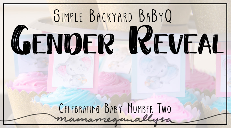 We had a simple gender reveal party, with some vintage decor touches, plenty of elephants rolling around, and fun out in the backyard with friends and family!