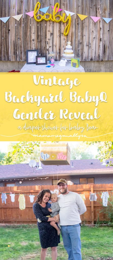 A simple gender reveal party we held in our backyard with vintage touches, elephants scattered around and simple baby shower games!