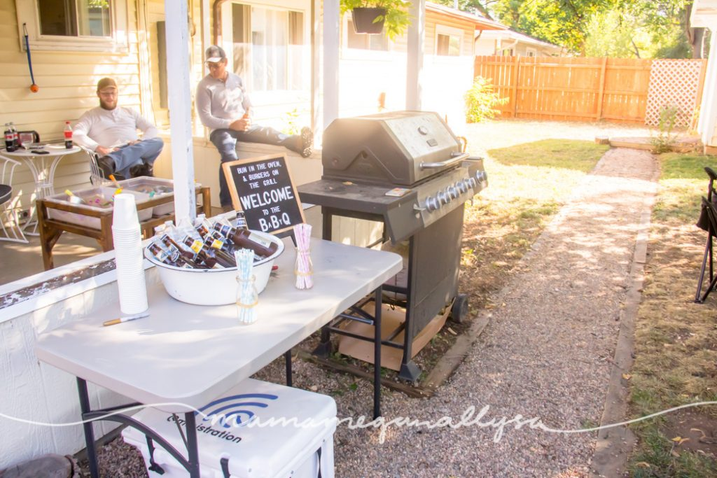 The food prep and beverage station in the backyard ready