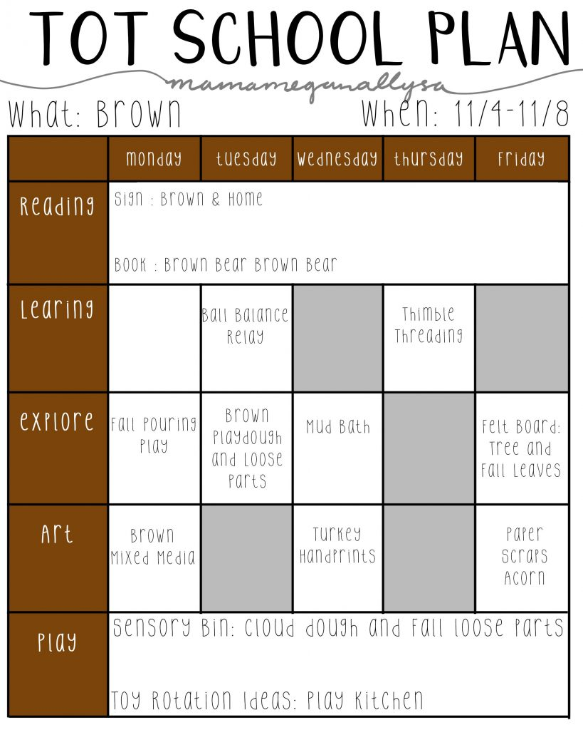Our color of the month for November   will be the color brown.